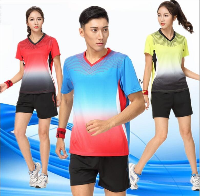 costume nouvelles femmes T-shirt des hommes et des shorts, chemise homme de tennis, former les femmes maillots de ping-pong t-shirt rapide tennis de vêtements secs ensemble