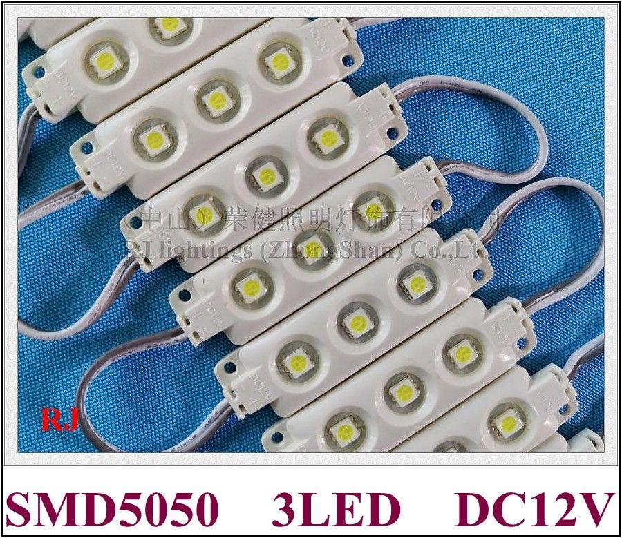 Högkvalitativ injektion Epoxy Vattentät LED-modul LED-lampa Ljusmodul Bakgrundsbelysning SMD 5050 DC12V 0.72W 3 LED IP66 ABS CE
