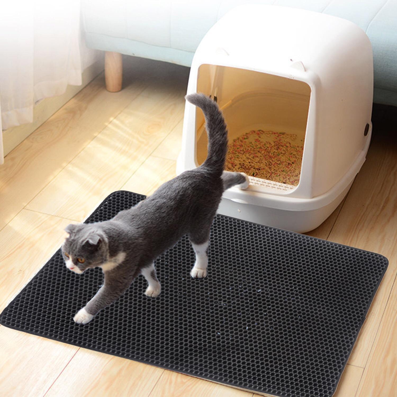 방수 애완 동물 고양이 쓰레기 매트 EVA 더블 레이어 고양이 쓰레기 트래핑 애완 동물 쓰레기 고양이 매트 청소 패드 제품 용 고양이 액세서리
