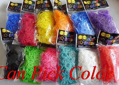 mix multicolor 600 bands+24 S-Clips/pack, 12 pcak/lot Elastic Rubber Candy Bracelet Bands Multy gift Silicone bb453