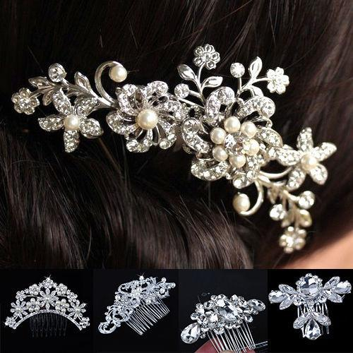 Nouvelle main de mariée mariée Accessoires cheveux Fleur Cristal Perles Imité Hairpin Diamante Peigne Hairclip
