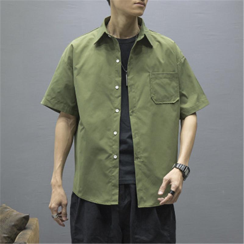 Retro İşleme Erkekler Gömlek Tasarımcı Moda Trend Günlük İnce Kısa Gömlek Erkek Yaz İnce Gevşek Yaka Tişört Giyim