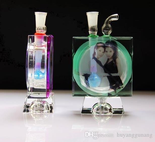 новый красота Кристалл бутылки воды Оптовая стеклянные бонги масляная горелка стекло водопроводные трубы нефтяные вышки курение бесплатно