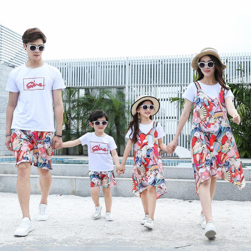 2020 Отец Мать Дети детской одежды Мамочка и я Matching платье Summer Family Look мама сын папа Нижнее Детские Шорты