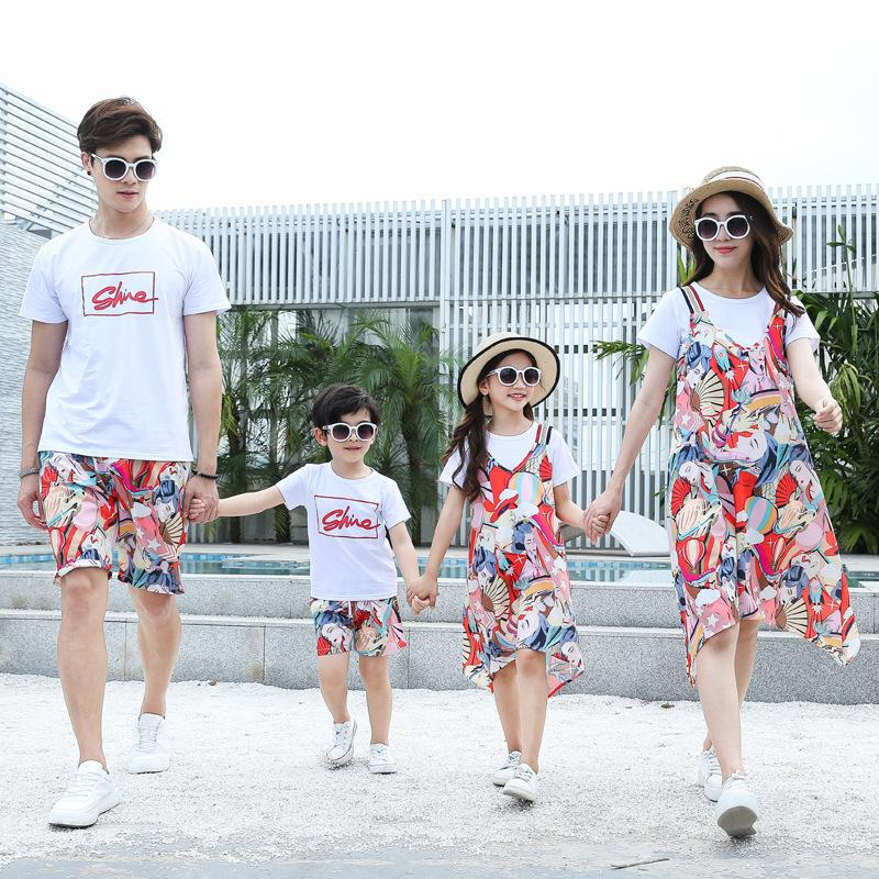 2020 Pai Mãe crianças roupas para crianças Mommy and Me Matching vestido de verão da família Olha mãe Filho Roupas pai do bebê Camisas Shorts