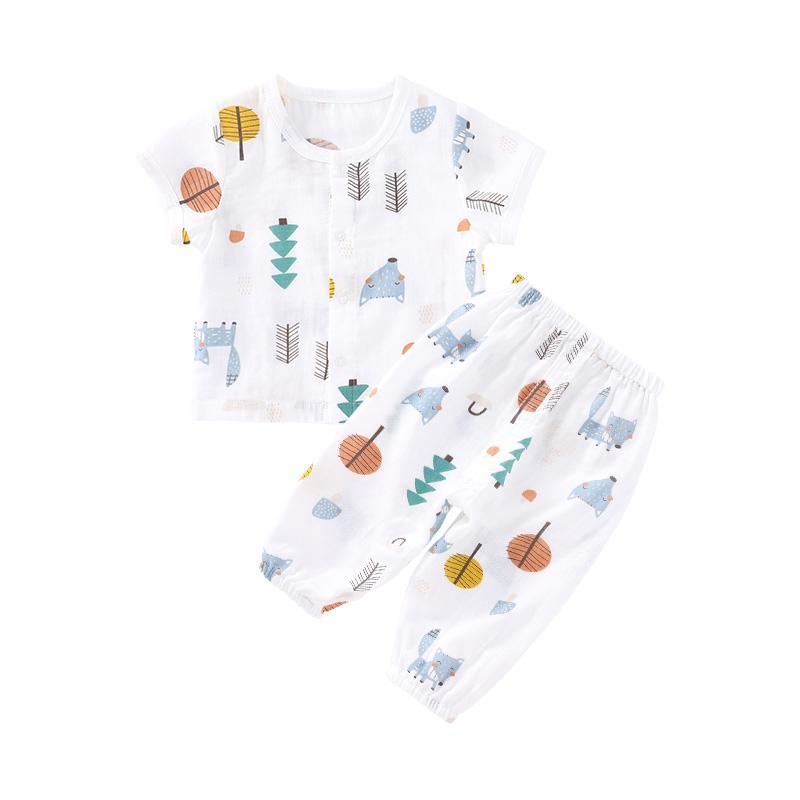 Pureborn Bay unisexe Tout-petits Vêtements Set 2 Pcs bébé Top et pantalon Vêtements bébé Set Impressions d'été en coton respirant Pyjama