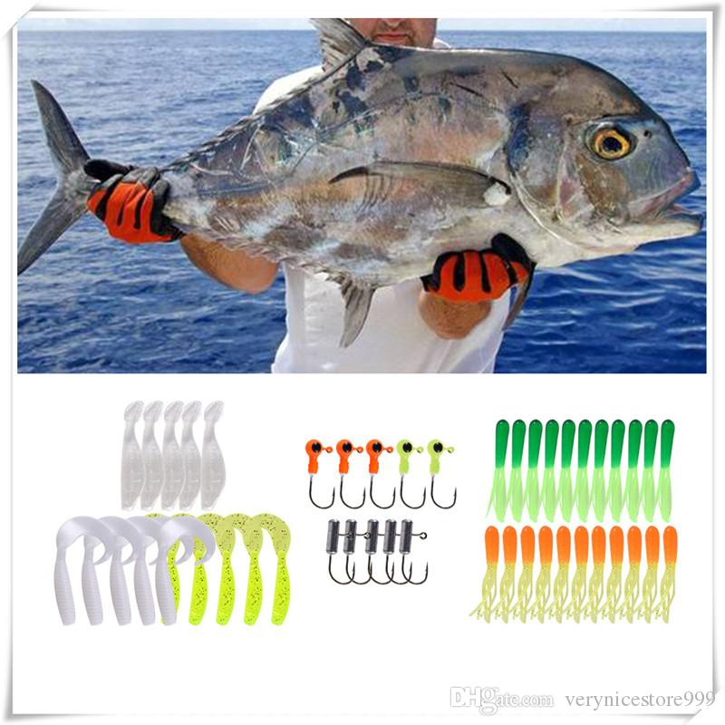 Fishing Lure Set 35Pcs Soft Worm Fishing Baits 10 Lead Jig Head Hooks Simulation Fish Lures