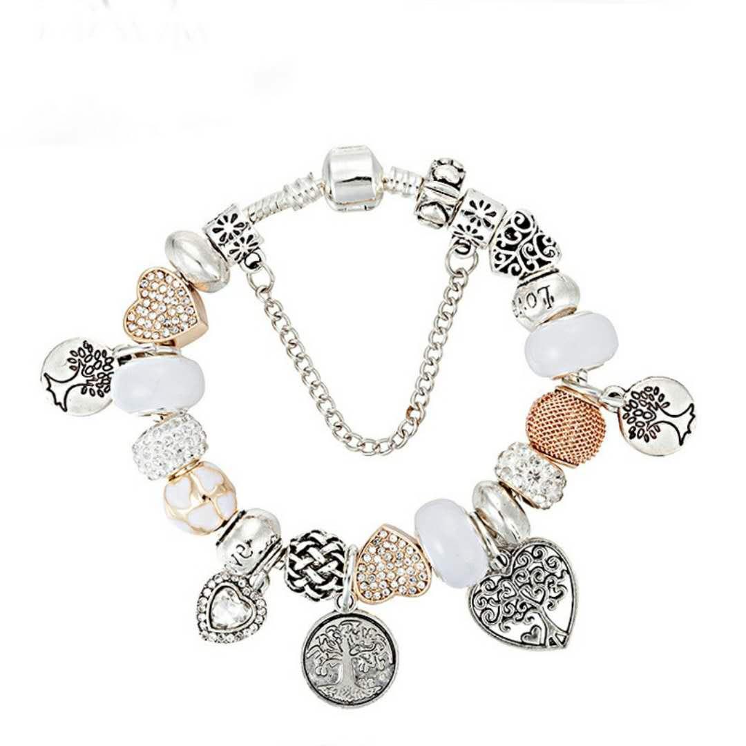 perline nuovo progettista di lusso fascino 925 braccialetti d'argento per le donne la vita Ciondolo Albero braccialetto di fascino di amore come gioielli regalo di DIY Wedding Accessories