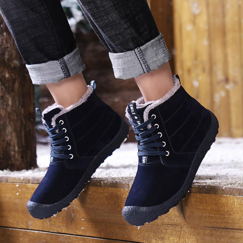 2019 New Hot Style Men's Winter Plus Velvet Warm Snow Shoes Outdoor Cotton Boots Lace Up Anti-Slip Ankle Outdoor Male Shoes
