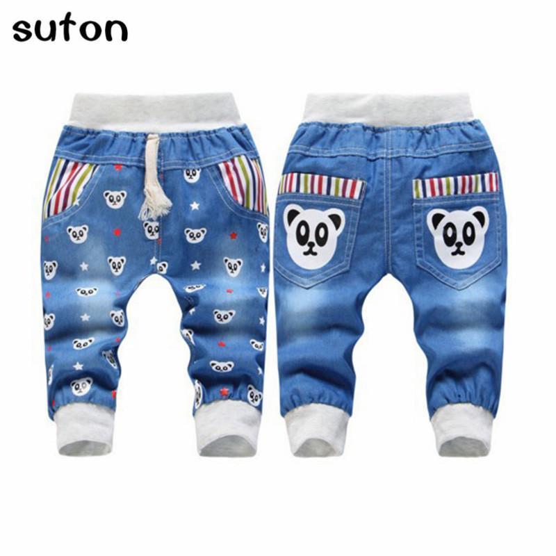 Suton garçons Jeans taille élastique droite Motif Ours Denim Cartoon Casual doux enfants Jeans pour 2-5 ans 2018 d'été pour enfants