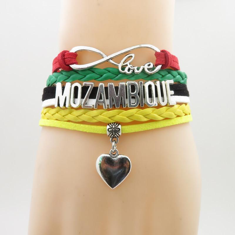 Unendlichkeit Liebe Mosambik Fußball Armband Herz Charme Mosambik Nationalflagge Gelb Armbänder Armreifen Für Frau Und Mann
