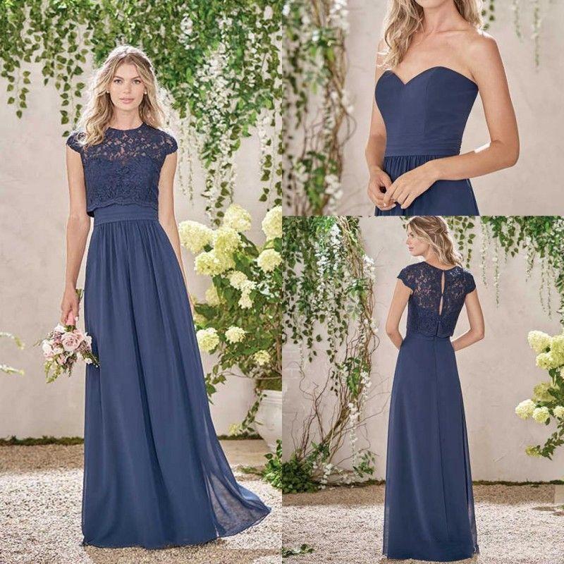 2019 Uzun Ülke Donanma Mavi Nedime Elbiseleri ile Dantel Ceket Cap Kollu Ekip Boyun Kat Uzunlukta Onur Elbise Hizmetçi