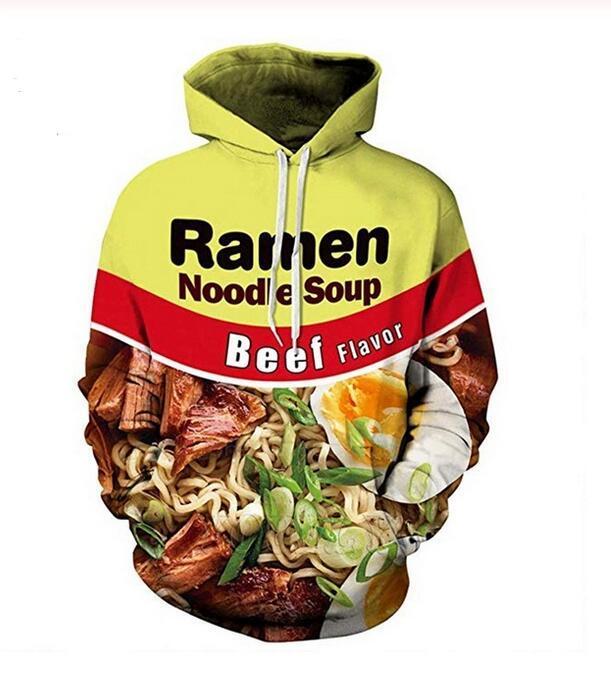 Sığır şehriye çorbası Tişörtü Kapşonlu Ceketler Erkekler Kadınlar Kapüşonlular 3d Marka Erkek Uzun Kollu Eşofman Casual Kazaklar Artı boyutu RR0316