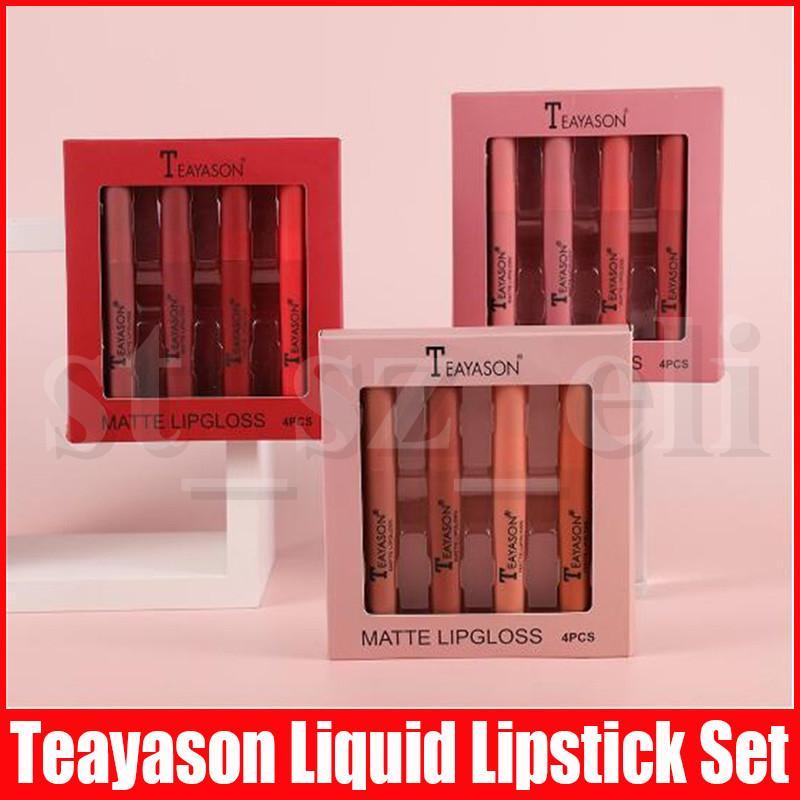 TEAYASON Matte Liquid Lipstick Waterproof Red Lipgloss Makeup Tattoo Long Lasting 4pcs/set Lip Tint Lip Gloss Rouge A Levre Mat