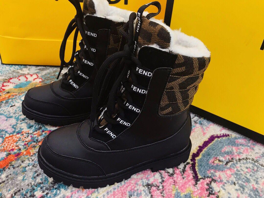 Kids Boys Girls Winter Fur Lined Warm Snow Ankle Boots Outdoor Lace Up Shoes US