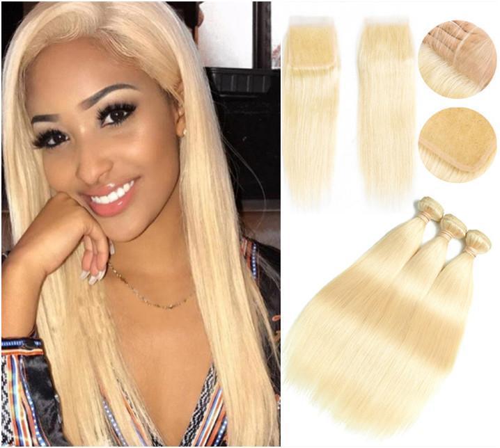 ELLIBESS Haar- Glattes Haar 3 Bundles mit Verschluss 613 Blonde Farbe Haar Menschliches Haar Mit 4x4 Closure