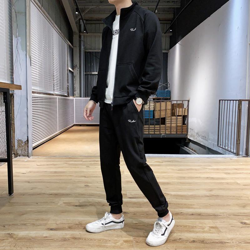 Il nuovo modo di inverno degli uomini tuta Giacca Impostare pantaloni casual Felpa maschile Uomini Pantaloni serie di abiti Sportwear Hommes JJ60NT Coat