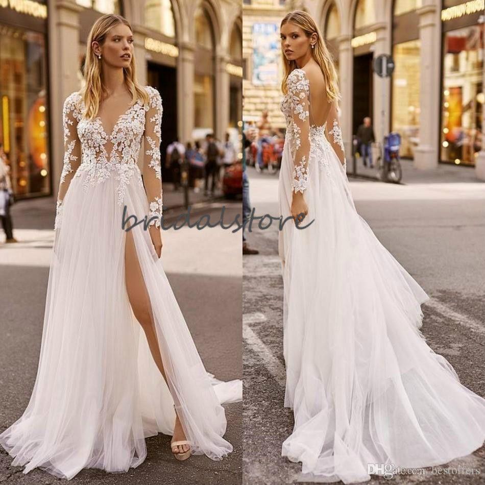 Berta Boho Wedding Dresses Illusion Lace Long Sleeve Bohemian Wedding Dress 2020 Sexy Backless High Slits Bridal Gowns Hochzeitskleider