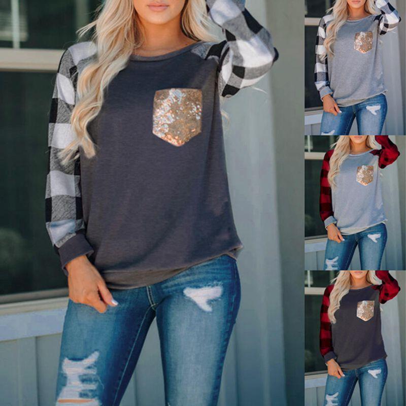 Tapas de las mujeres del O-Cuello de manga larga a cuadros camiseta de la impresión de retazos señora Camisas de las lentejuelas de empalme de bolsillo de otoño del resorte Tops Pullover C2251