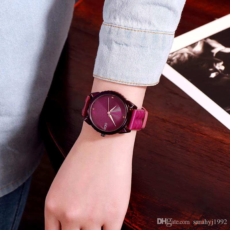 GEDI Big Dial Sports Korean Trend Watch Black Leather Strap Neutral Student Watch Personality Ladies Watch