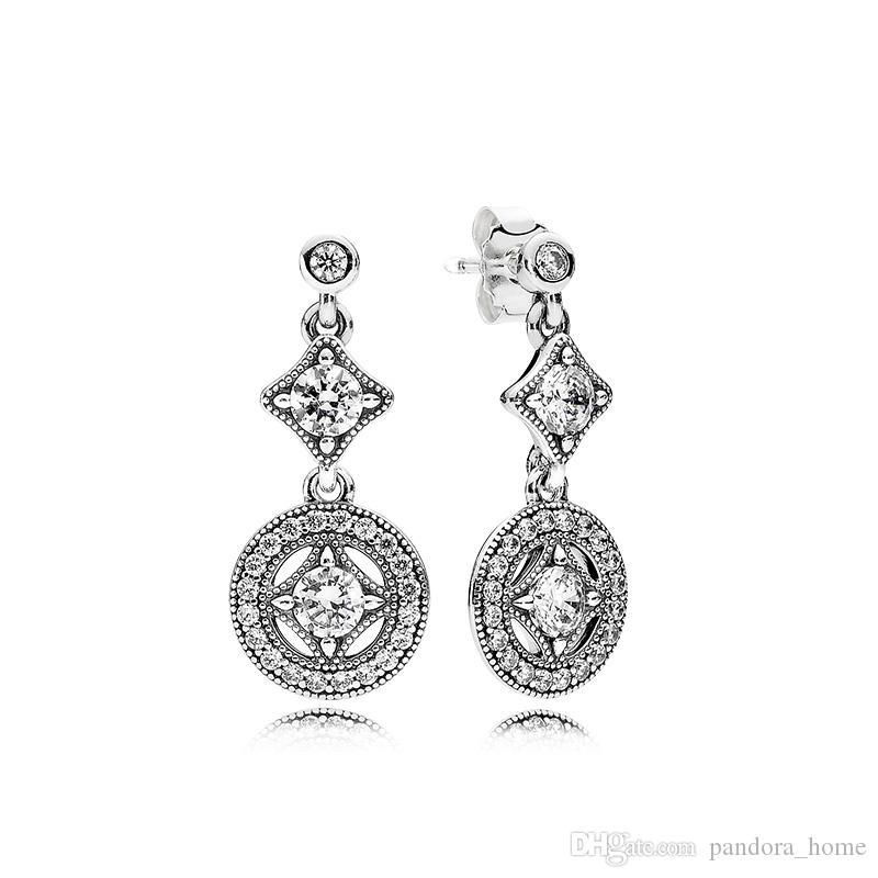 Урожай Потрясающие серьги для Pandora Роскошная 925 стерлингового серебра CZ Алмазный Elegant Lady серьги подарок на день рождения с коробкой