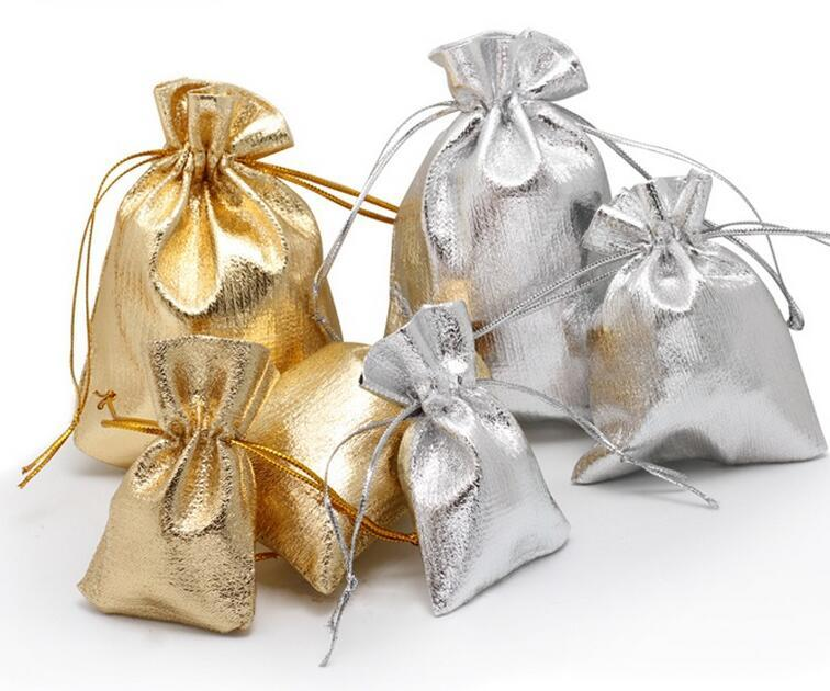 7x9 9x12 10x15cm 13x18cm Düğün Hediye Çanta Torbalar HOT Altın Gümüş Renk İpli Çanta Drawable Organze Bags Ambalaj Ayarlanabilir Takı