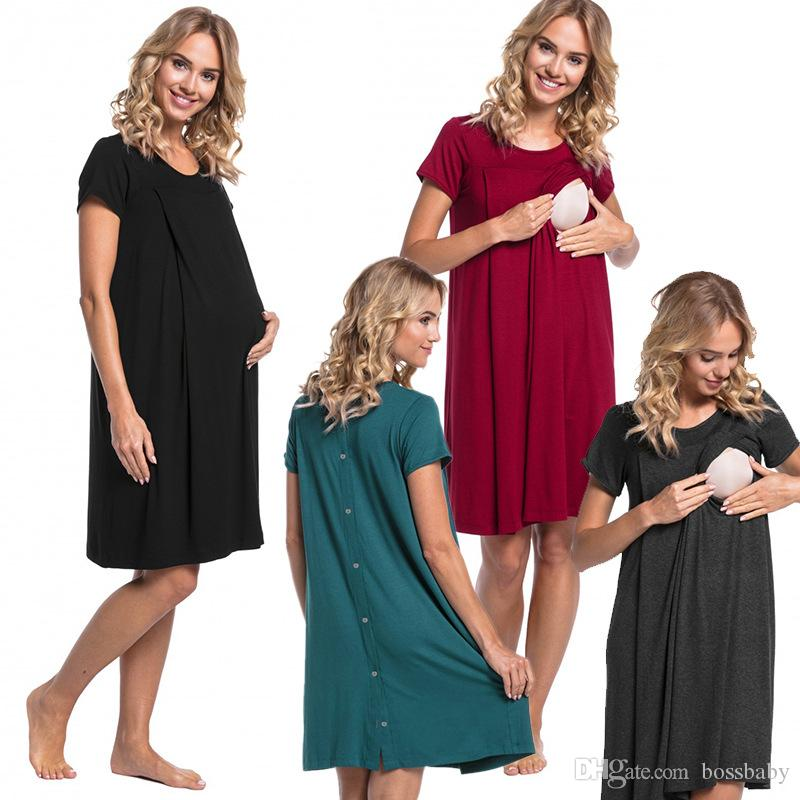 Maternity Pregnant Full Dresses Maternity Clothes Open Breastfeeding Care Suit Hidden On Both Sides Short Sleeve Round Neck 19