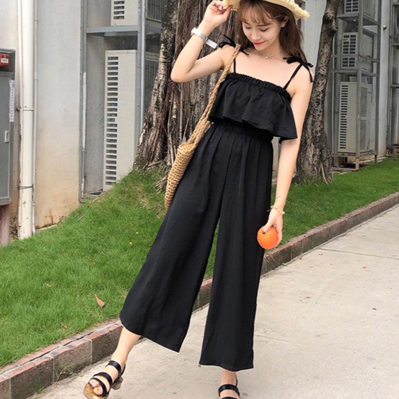 2020 Женские рукавов комбинезон Повседневная шаровары Модные брюки широкого покроя Rk