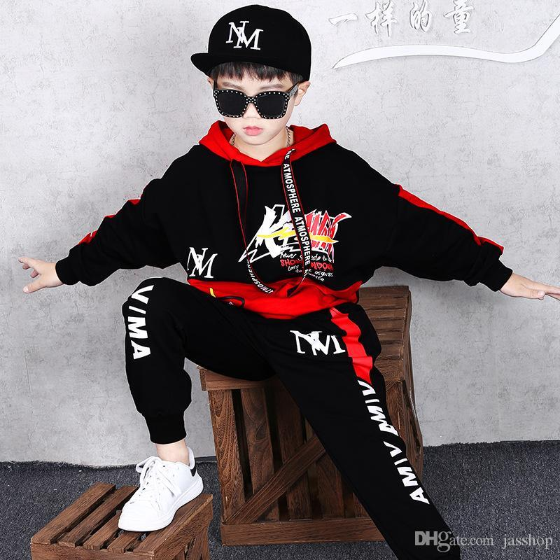 Children's Clothing Boy Autumn and Winter Handsome Sports Suit Baby New Plus Velvet Sweater Hip Hop Wind Jacket Pants Novelty Coat 2 Se