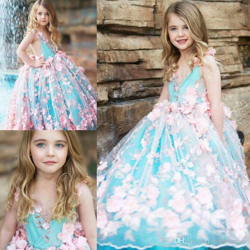 Yeni Balo Kız Pageant Elbiseler Aç Geri Toddler Çiçek Kız Elbise Kat Uzunluk Tül 3D Aplikler İlk Communion Abiye