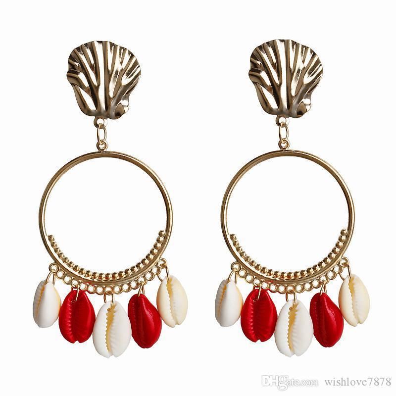 Yeni Moda Altın Renk Yaz Stil Kadınlar için Renkli Kabuk Küpe Büyük Daire Dangle Bildirimi Küpe Püskül Brincos