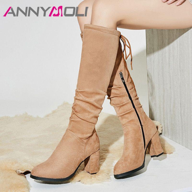 ANNYMOLI Mulheres Botas Inverno botas altas plissadas Bloco de salto alto Longo Zipper Sapatos de ponta redonda das senhoras queda Big Size 33-43