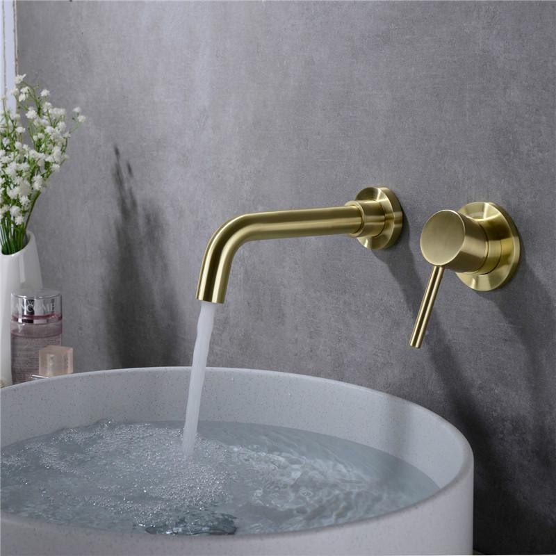 Matte Brass Wall Mounted Basin Faucet Single Handle Bathroom Mixer Tap Hot Cold Sink Faucet Rotation Spout Burnished Gold