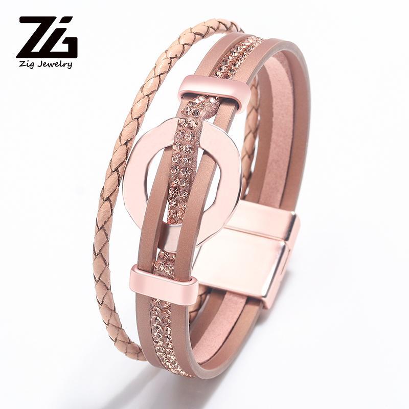 2020 accesorios de moda para mujer joyas de metal de la PU pulsera de cuero de aleación de zinc de la hebilla magnética boho pulsera femenina