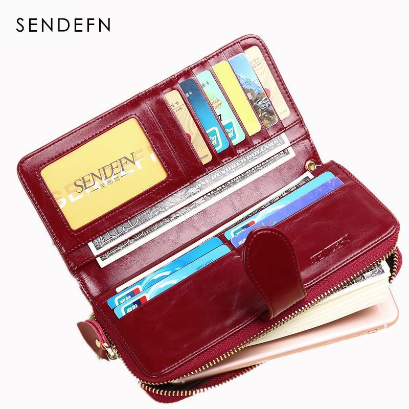 Sendefn vendita calda marca donne portafoglio in pelle borsa femminile lunga signora frizione borsa dei soldi borsa della moneta con cerniera carteira feminina 8002-69 Y190701