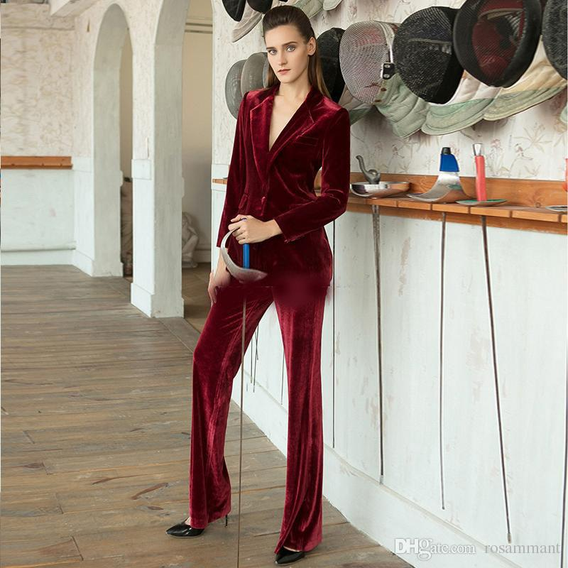 Customized Burgundy Velvet Mother of the Bride Suits Set One Button Slim Fit Notched Lapel Outfit Two Pieces Ladies Wedding Party Dress