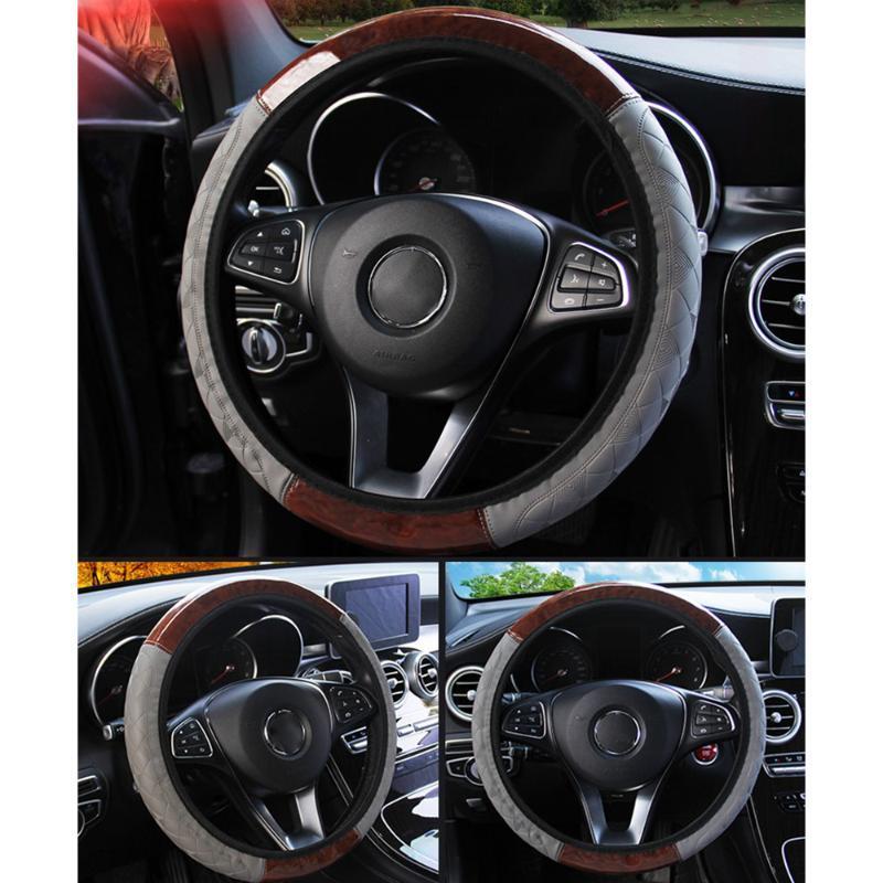 LEEPEE 4 Renkler Evrensel PU Deri Direksiyon Kapaklar İç Aksesuar Ahşap Desen Araç Direksiyon Kapak Car-stil