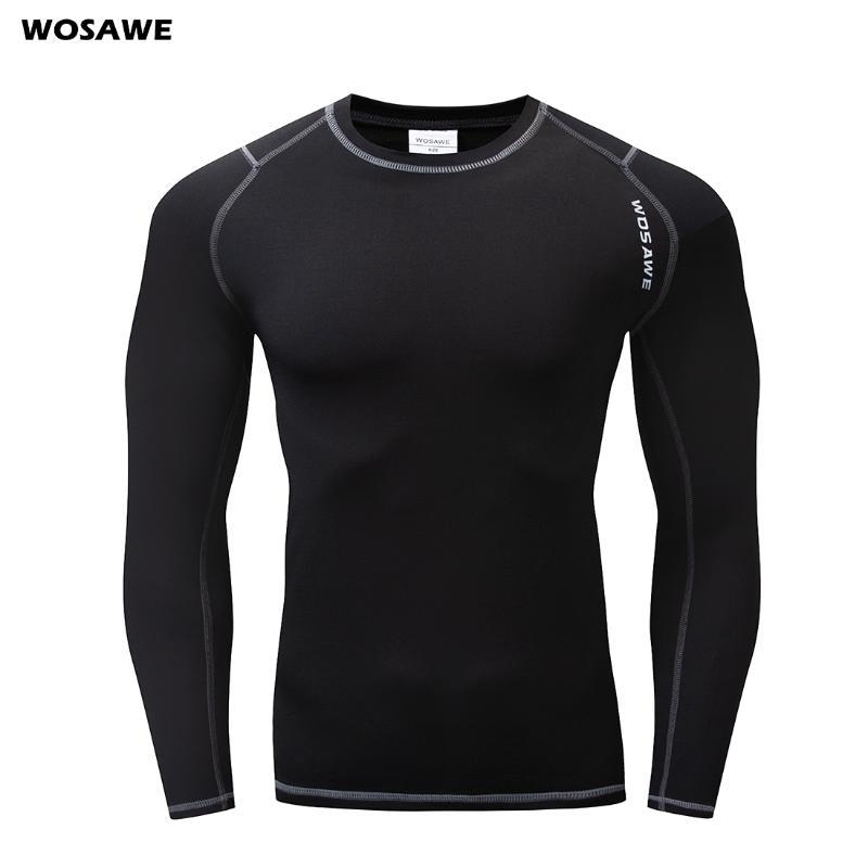 WOSAWE 실행 T 셔츠 양털 열 속옷 겨울 긴 존스는 조깅 자전거 스포츠베이스 레이어를위한 피트니스 체육관 셔츠 탑