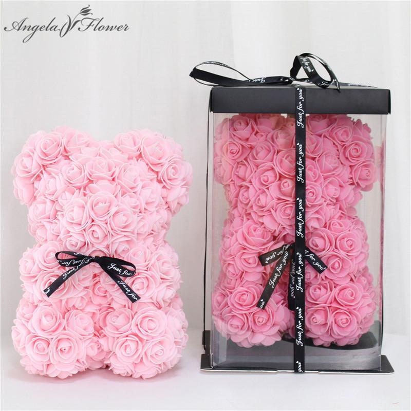 Bricolage 25 cm en peluche rose ours avec boîte fleur artificielle PE ours rose Saint Valentin cadeau pour jour des femmes de petite amie mère épouse T200103