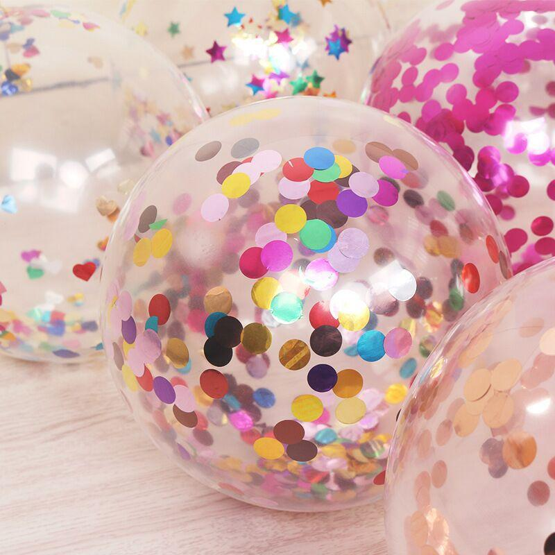 50pcs Colorful Golden Sequin Confetti Balloons Spots Transparent Magic Balloon 12 inch Christmas Decoration Birthday Party Supplies
