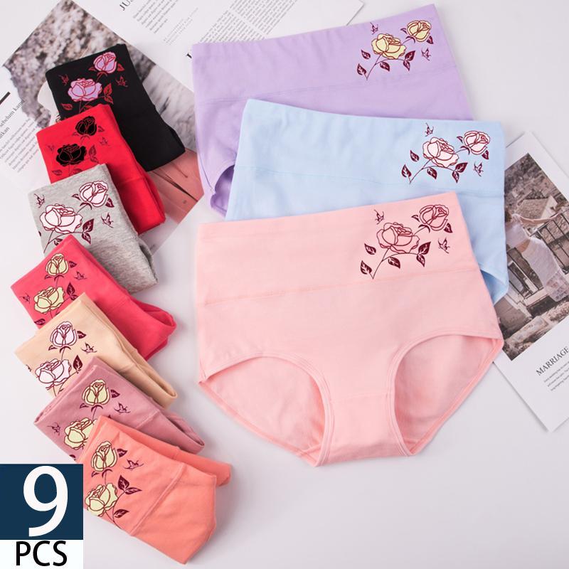 9Pcs woman panties fashionable Women's cotton panties sexy lingerie women's briefs Rose women high waisted briefs cotton