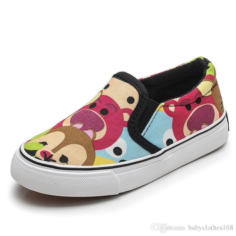 bajo precio 414e1 a3050 Compre Zapatillas De Deporte Para Niños Low Top Zapatillas De Lona Para  Niñas Zapatos Sin Cordones Calzado Casual Para Niños Zapatillas Deportivas  ...