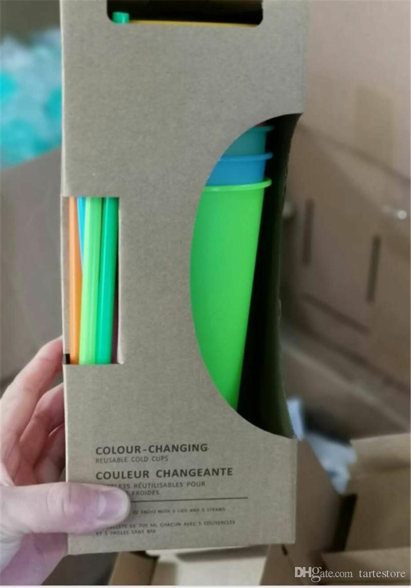 Cambio de color de la taza de 700 ml con 5 colores de las tapas jugo paja plástico de la manera Vasos Vasos de frutas envío