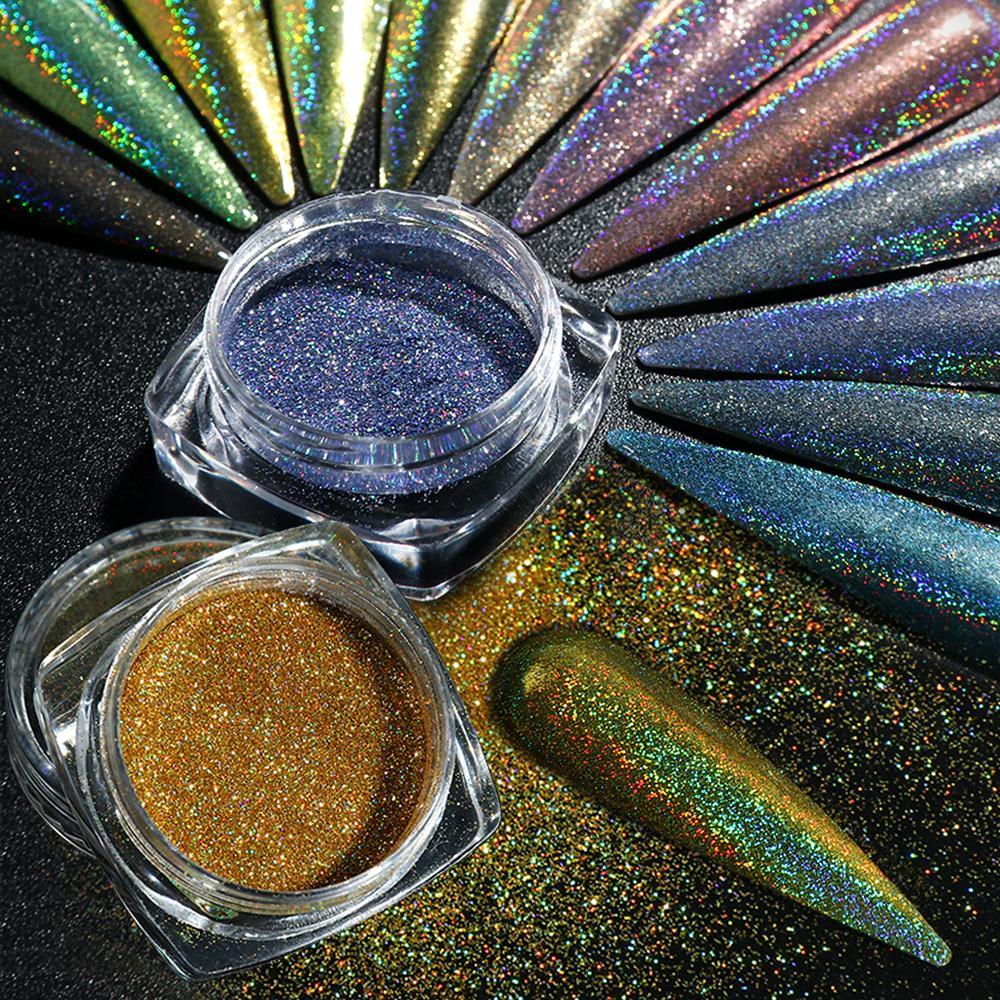 Glitter láser holográfico Dip polvo brillante espejo del arte del clavo del polvo del brillo de neón de las escamas de uñas manicura de la decoración SA1028