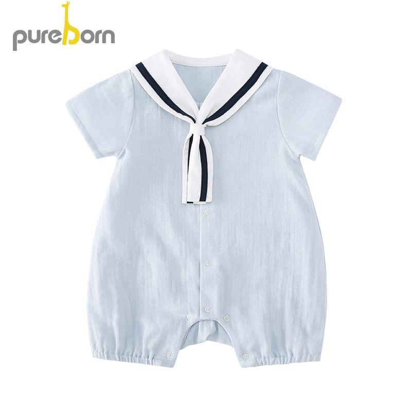 Pureborn bébé barboteuse coton été bébé vêtements infantile bébé garçon et fille vêtements marine collier vêtements MX190801