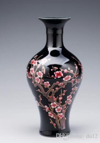 Vaso da tavolo in ceramica Vaso nero ornamenti soggiorno prugna fiore moderno portico vino armadietto decorazioni domestiche