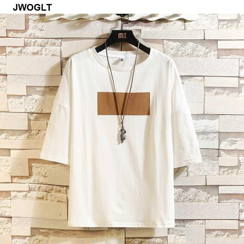 여름 트렌드 패션 컬러 블록 남성 T 셔츠 100 % 코튼 티셔츠 한국어 캐주얼 짧은 소매 대형 화이트 블랙 T 셔츠 탑