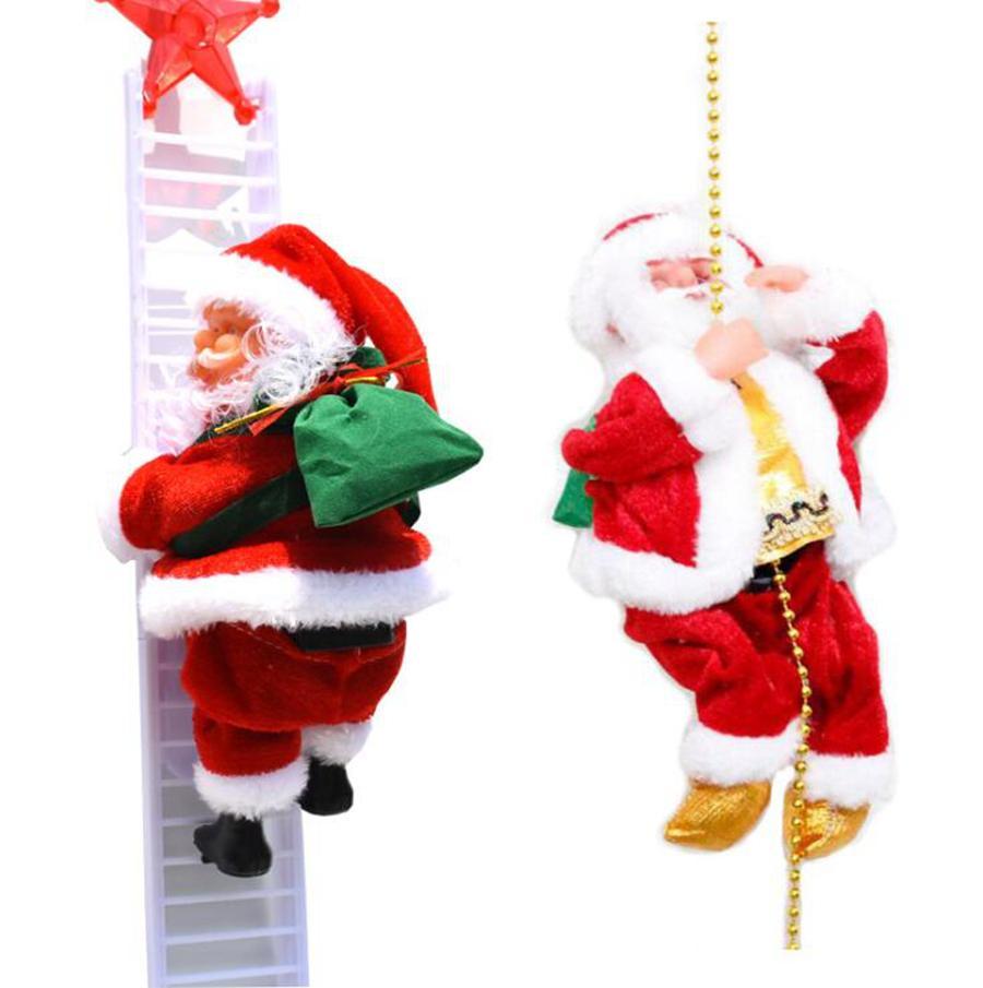 تسلق سلم كهربائي سانتا كلوز شجرة عيد الميلاد الشنق دمية عيد الميلاد DIY مهرجان الحرف هدية عيد الميلاد لعب OOA7337-3