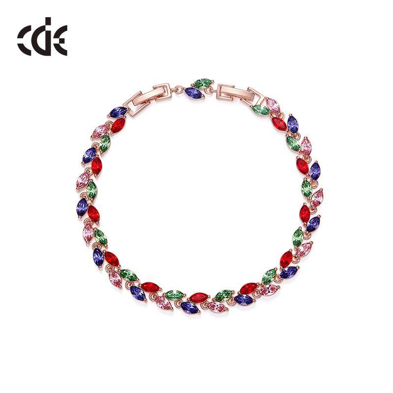 Swarovski kristal bileklik Avrupa ve Amerikan renkli yaprak Bileziklerinde kullanılır