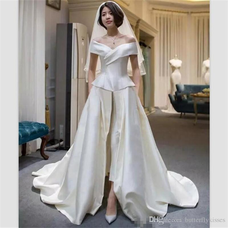 2018 élégant champagne satin combinaisons robes de soirée hors épaule balayage train robe de bal avant divisé robe de soirée robe de soirée robe de soirée